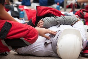 53115832 - work accident. first aid training.